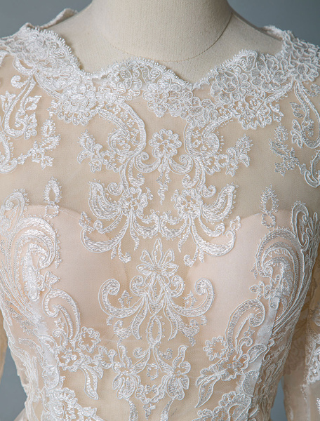 Milanoo boho wedding dresses 2020 jewel neck long sleeve a line floor length chffion bridal dress for beach wedding