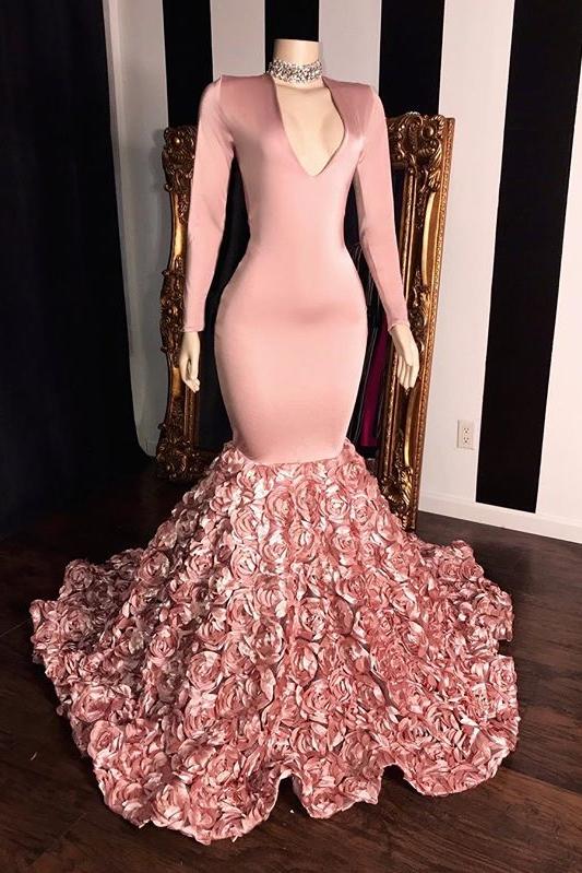 Rosa mangas largas flores sirena vestidos de baile | Elegante vestido de noche con cuello en V 2021