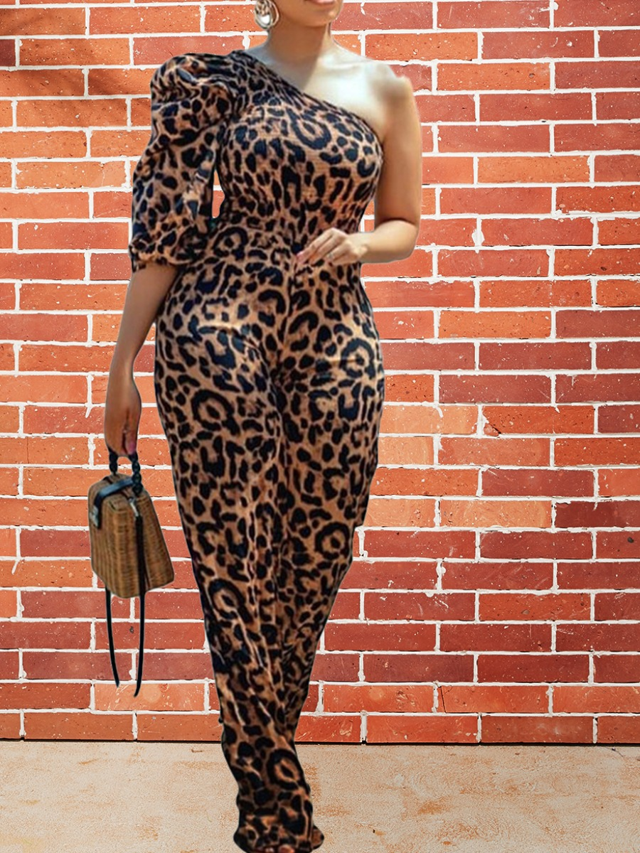 LW lovely Trendy One Shoulder Leopard Print One-piece Jumpsuit