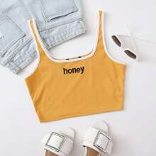 Contrast Binding Embroidered Letter Tank Top