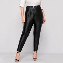 Plus Zipper Front PU Leather Leggings