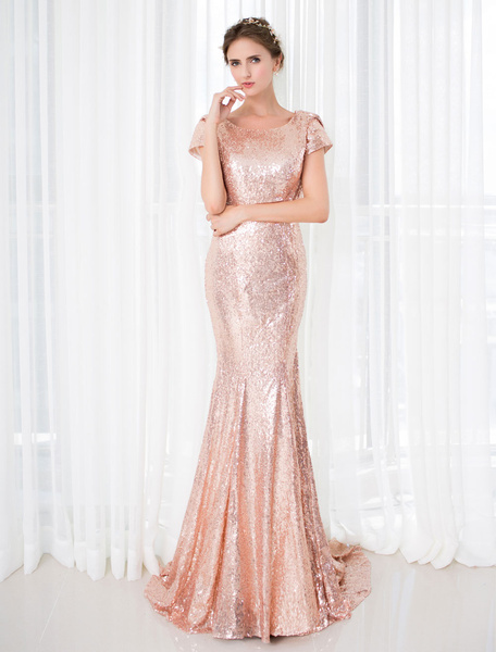 Milanoo Rose Gold Prom Dresses 2020 Long Nude Mermaid Backless Evening Dress Sequin Court Train Short Sleeve Red Carpet Dress wedding guest dress