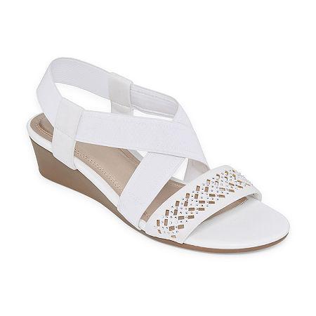 east 5th Womens Greece Wedge Sandals, 10 Medium, White