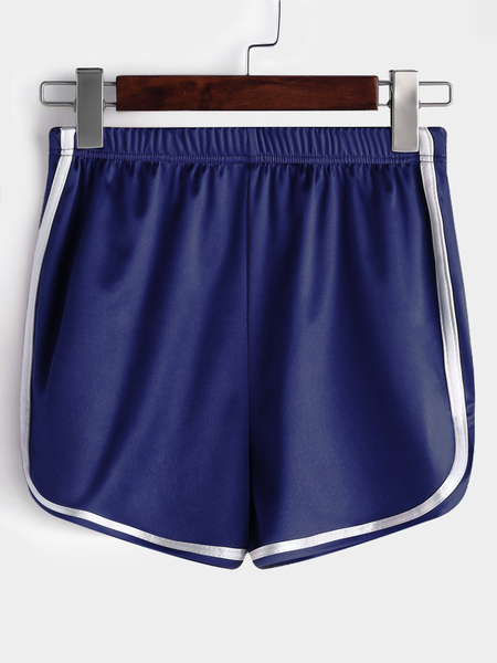Yoins Blue Smooth Fabric High Waist Gym Shorts