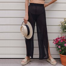Paperbag Waist Split Thigh Sheer Chiffon Palazzo Pants Without Panty
