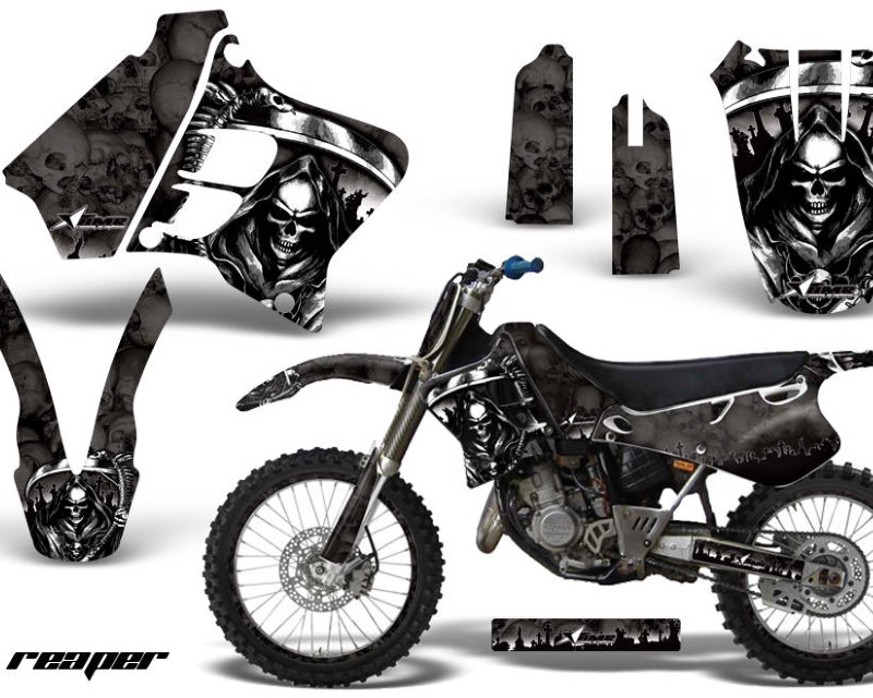 AMR Racing Graphics MX-NP-YAM-YZ125-YZ250-93-95-RP K Kit Decal Sticker Wrap + # Plates For Yamaha YZ125 YZ250 1993-1995 REAPER BLACK