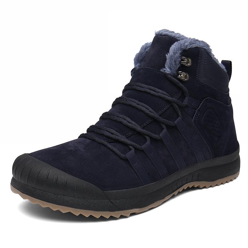 Men Plush Lining Leather Non Slip Anti-collicion Warm Casual Outdoor Boots