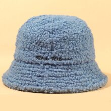Letter Embroidery Teddy Bucket Hat