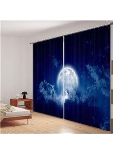 Bright Moon in the Dark Blue Sky 3D Printed Curtain