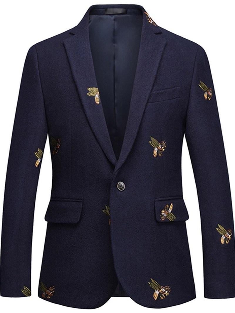 Ericdress Animal Embroidery One Button Lapel Mens Casual Ball Blazer
