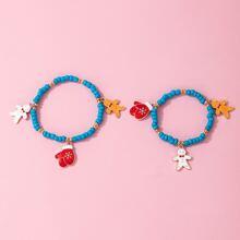 2 Stuecke Eltern-Kinder Armband mit Weihnachten Handschuhe Anhaenger und Perlen