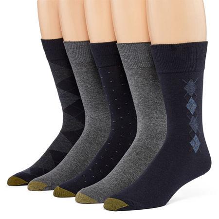Gold Toe 5 Pair Crew Socks-Mens, 10-13 , Blue