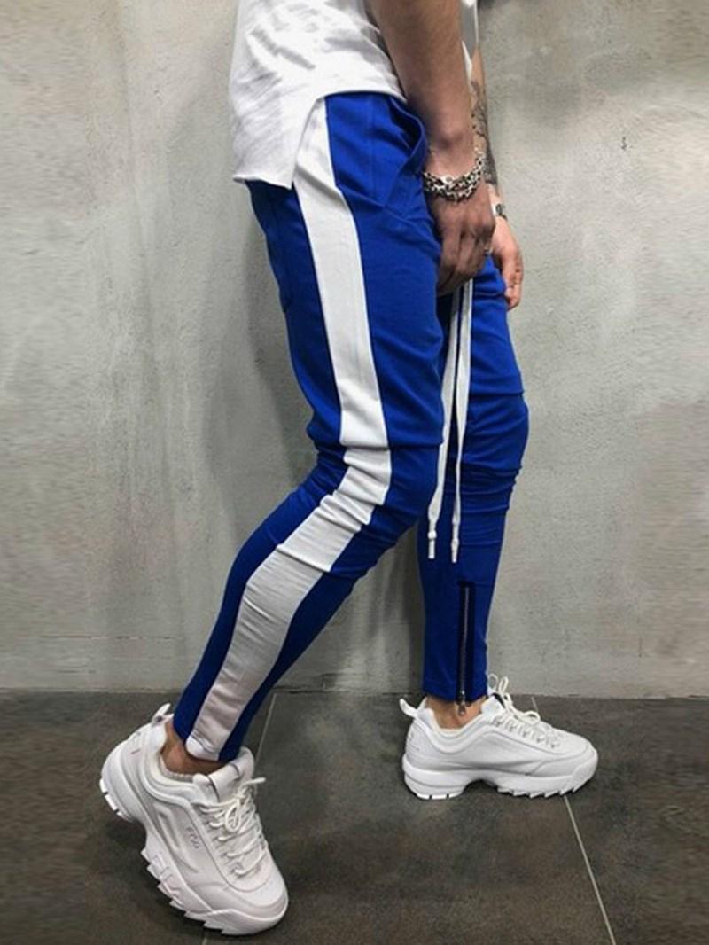 Ericdress Patchwork Lace Up Slim Hip Hop Mens Casual Sports Pants