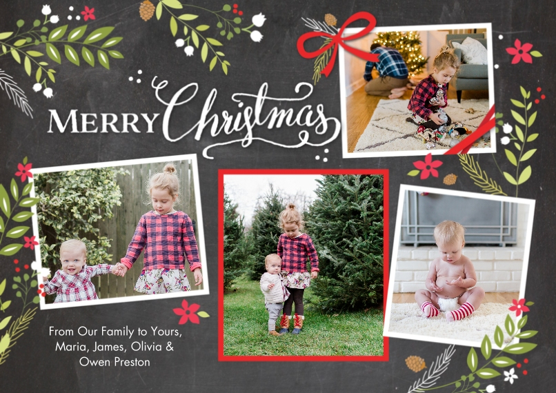 Christmas Photo Cards Flat Glossy Photo Paper Cards with Envelopes, 5x7, Card & Stationery -Christmas Rustic Floral Frame Snapshots