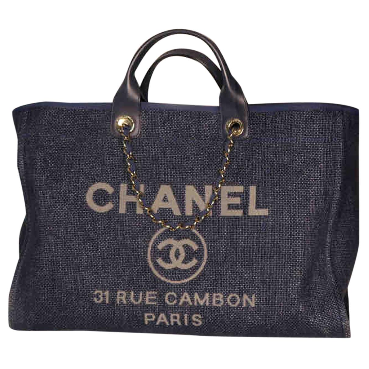 Chanel Deauville Handtasche in  Blau Denim - Jeans