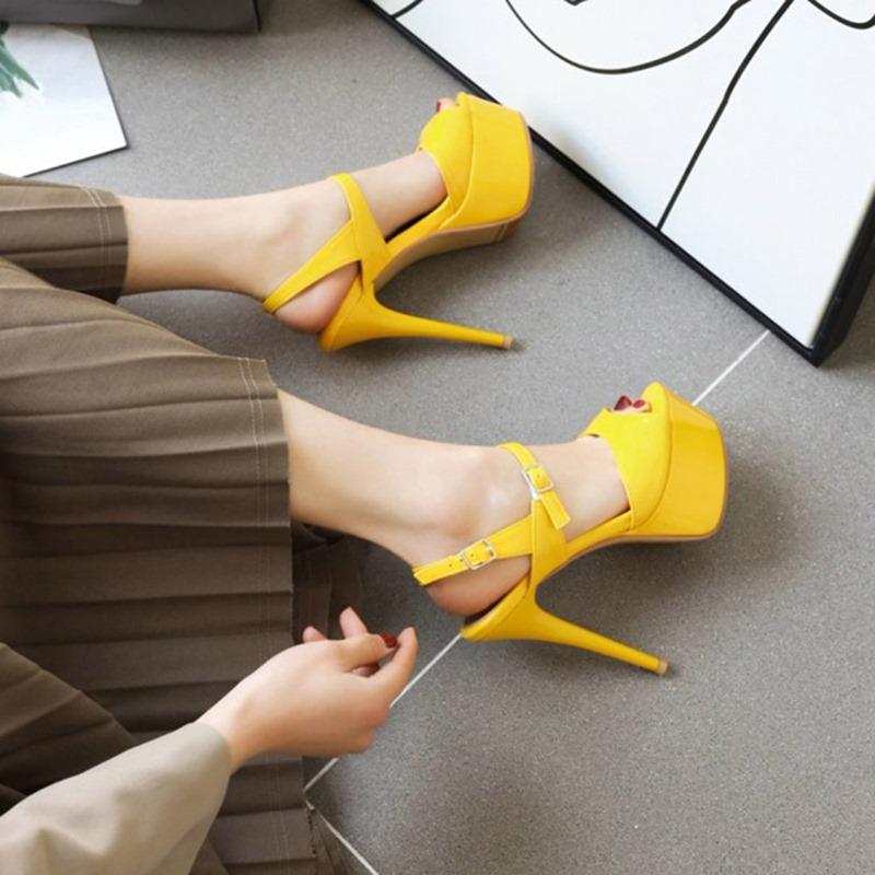 Ericdress Buckle Peep Toe Stiletto Heel Platform Sandals