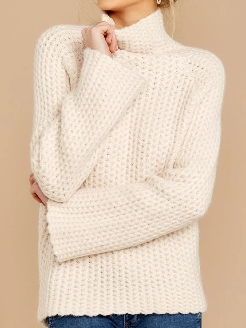 Ericdress Patchwork Regular Regular Turtleneck Long Sleeve Sweater