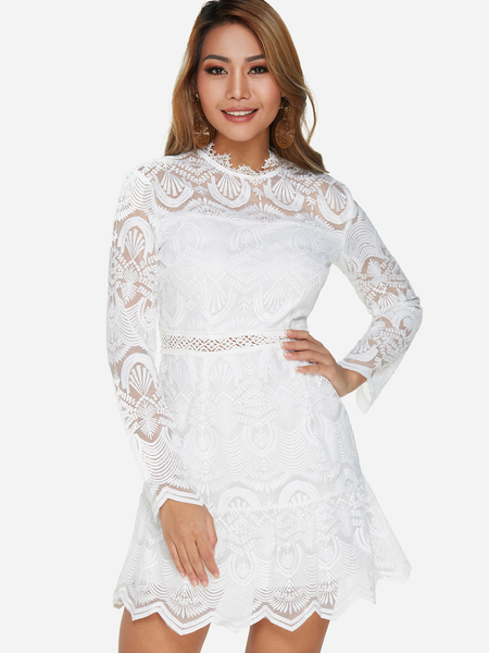 Yoins Lace Hollow Design Crew Neck Long Sleeves Dress in White