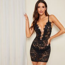 Floral Lace Sheer Slips With Thong