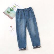 Jeans mit Karo Muster und gerolltem Saum