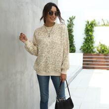 Cheetah Pattern Mock Neck Sweater