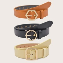 3pcs Geometric Buckle Belt