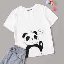 T-Shirt mit kurzen Ärmeln und Karikatur Muster