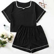 Schlafanzug Set mit Kontrast Paspel
