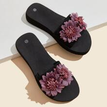 Floral Decor Open Toe Slippers