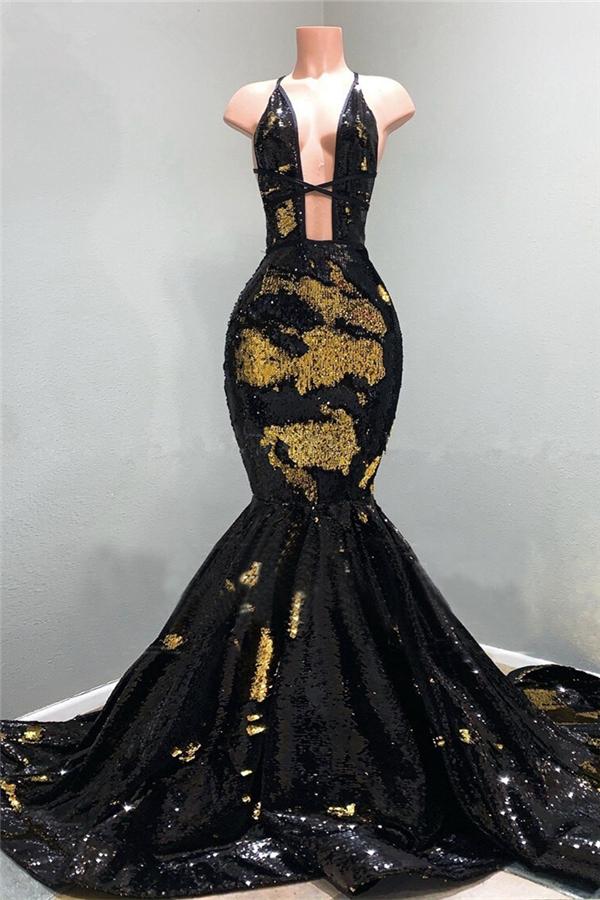 Sexy hohlen Ausschnitt gold und schwarz langen Zug Meerjungfrau Abendkleider