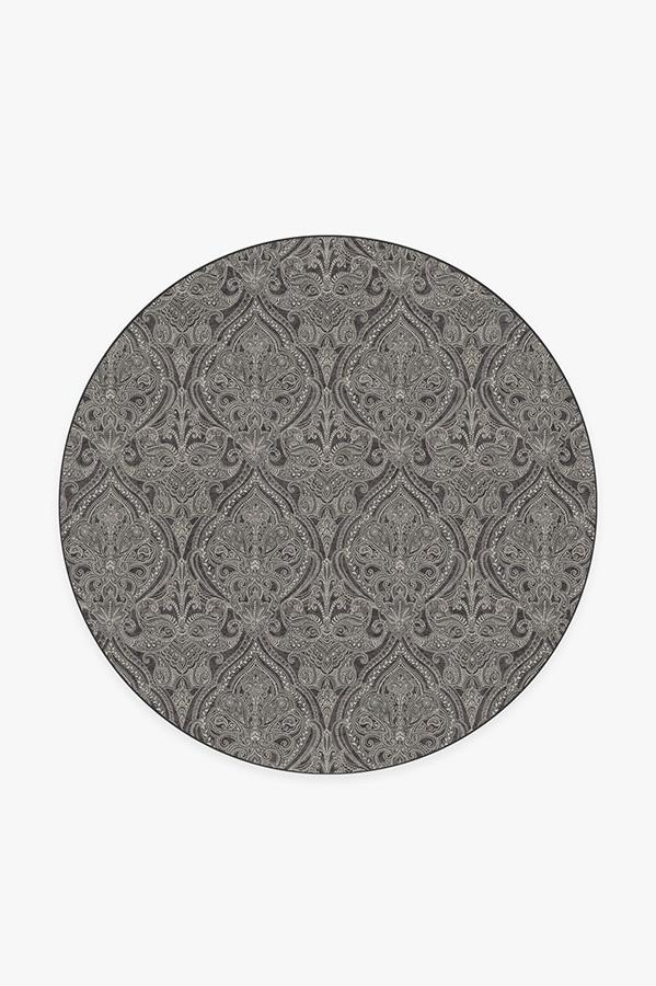 Washable Rug Cover | Lacis Damask Charcoal Rug | Stain-Resistant | Ruggable | 6' Round