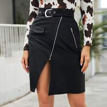 Flap Detail Split Front Belted PU Leather Skirt