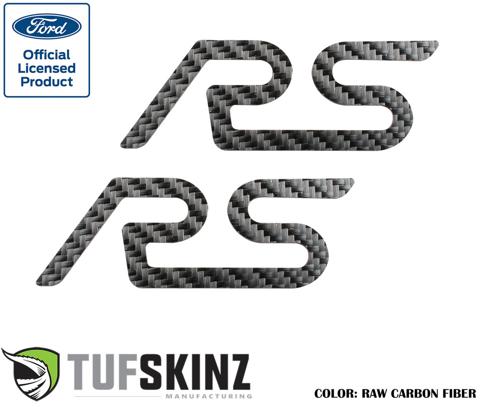 Tufskinz FOC001-RCF-X Rear Spoiler Inserts Fits 16-Up Ford Focus RS 2 Piece Kit Raw Carbon Fiber