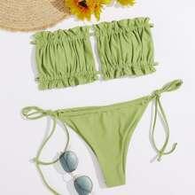 Ruched Bust Bandeau Tie Side Bikini Swimsuit