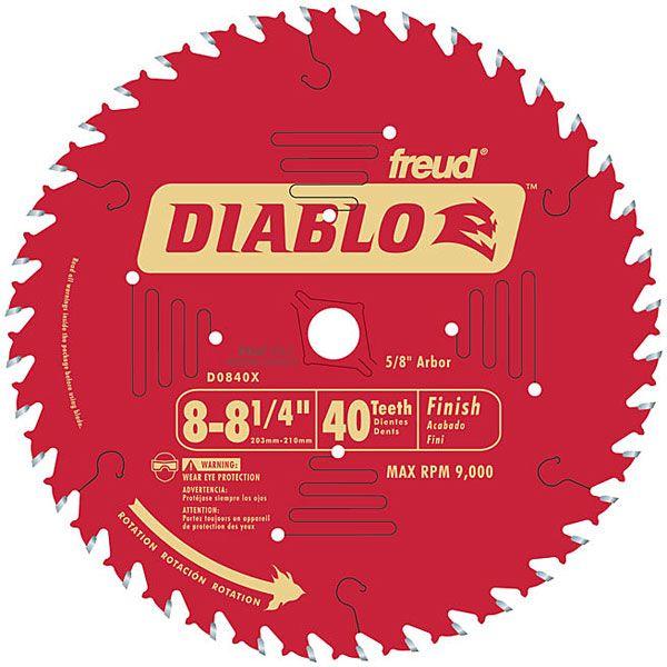 "D0840X Diablo Finishing Blade, 8-1/4"" diameter, 5/8"" arbor, 40 teeth ATB"