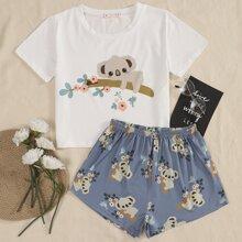 Schlafanzug Set mit Karikatur Koala & Blumen Muster