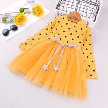 Toddler Girl Mesh Overlay Polka Dot Dress