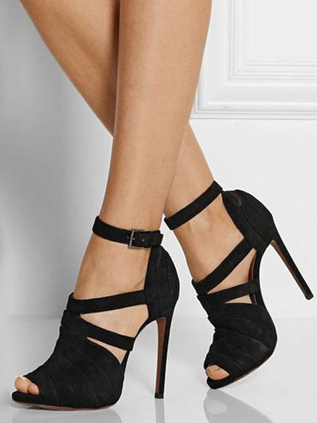 Milanoo Sandalias de punter Peep Toe Color liso estilo street wear de tacon de stiletto estilo moderno Sandalias para mujer