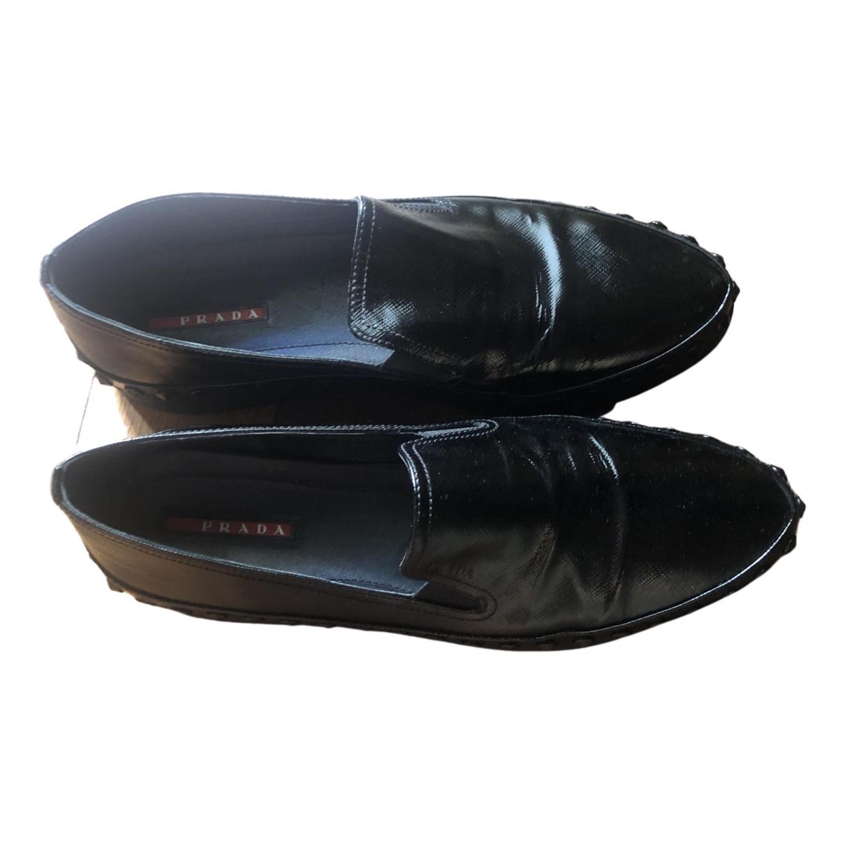 Prada \N Black Leather Flats for Women 41 IT