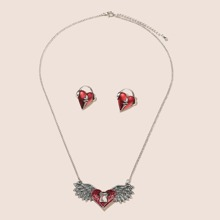 1pc Heart Charm Necklace & 1pair Stud Earrings