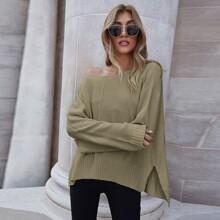 Drop Shoulder Slit Hem Solid Sweater