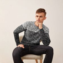 Men Space Dye Colorblock Sweater