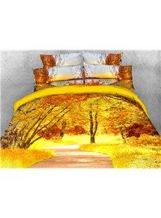 Golden Autumn Landscape 3D Soft Duvet Cover Set 4-Piece Scenery Bedding Sets
