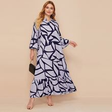 Plus Notch Neck Flounce Hem Geo Dress