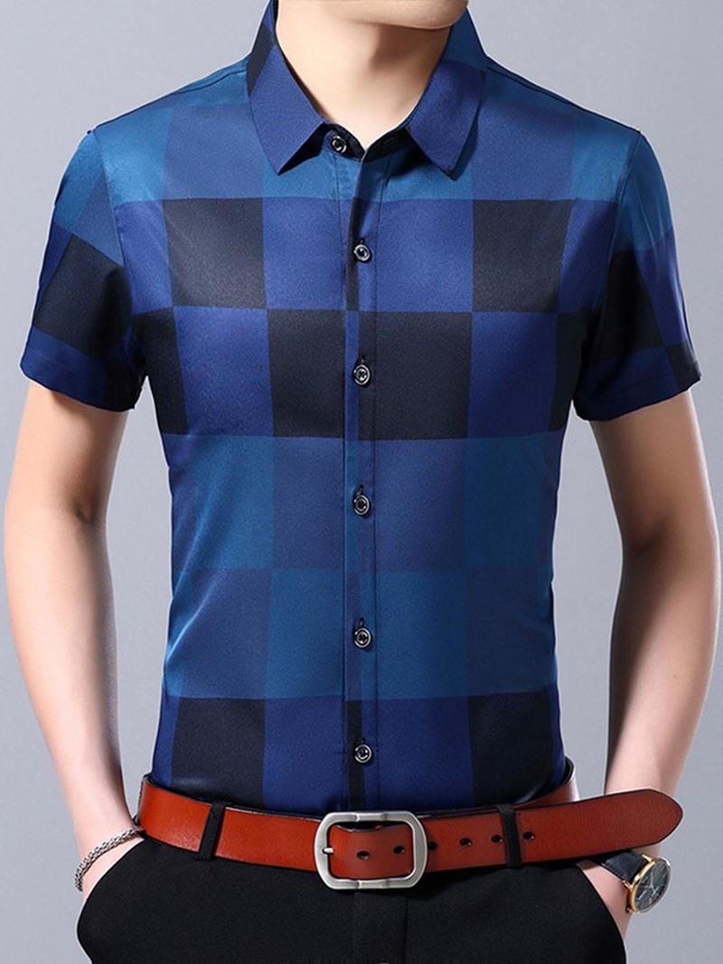 Ericdress Lapel Print Men's Casual Slim Shirt