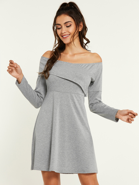YOINS Grey Off The Shoulder Long Sleeves Dress