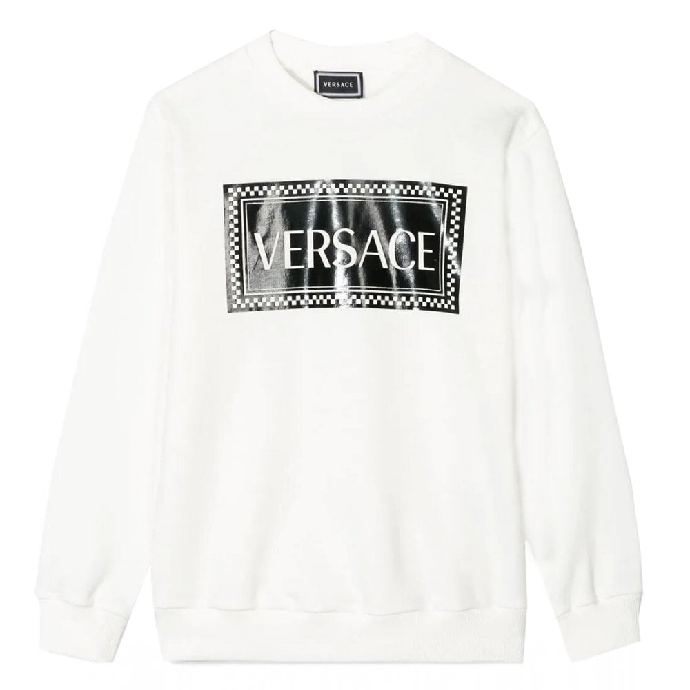 Versace Boys Cotton Logo Sweater Colour: WHITE, Size: 10 YEARS
