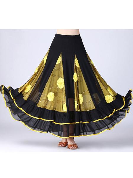 Milanoo Ballroom Dance Costume Skirt Long Women Floral Dancing Bottoms