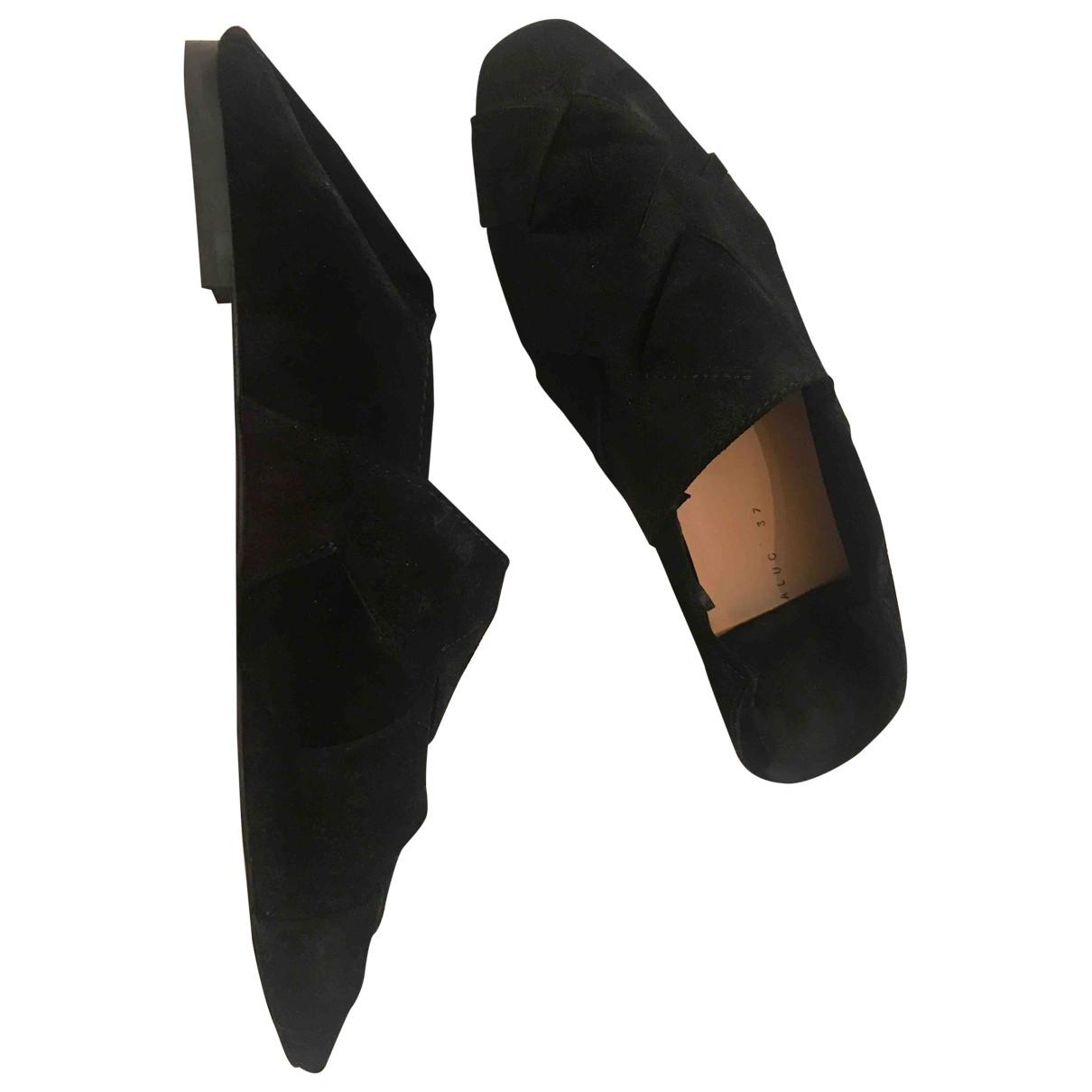 Zara \N Black Suede Flats for Women 37 EU
