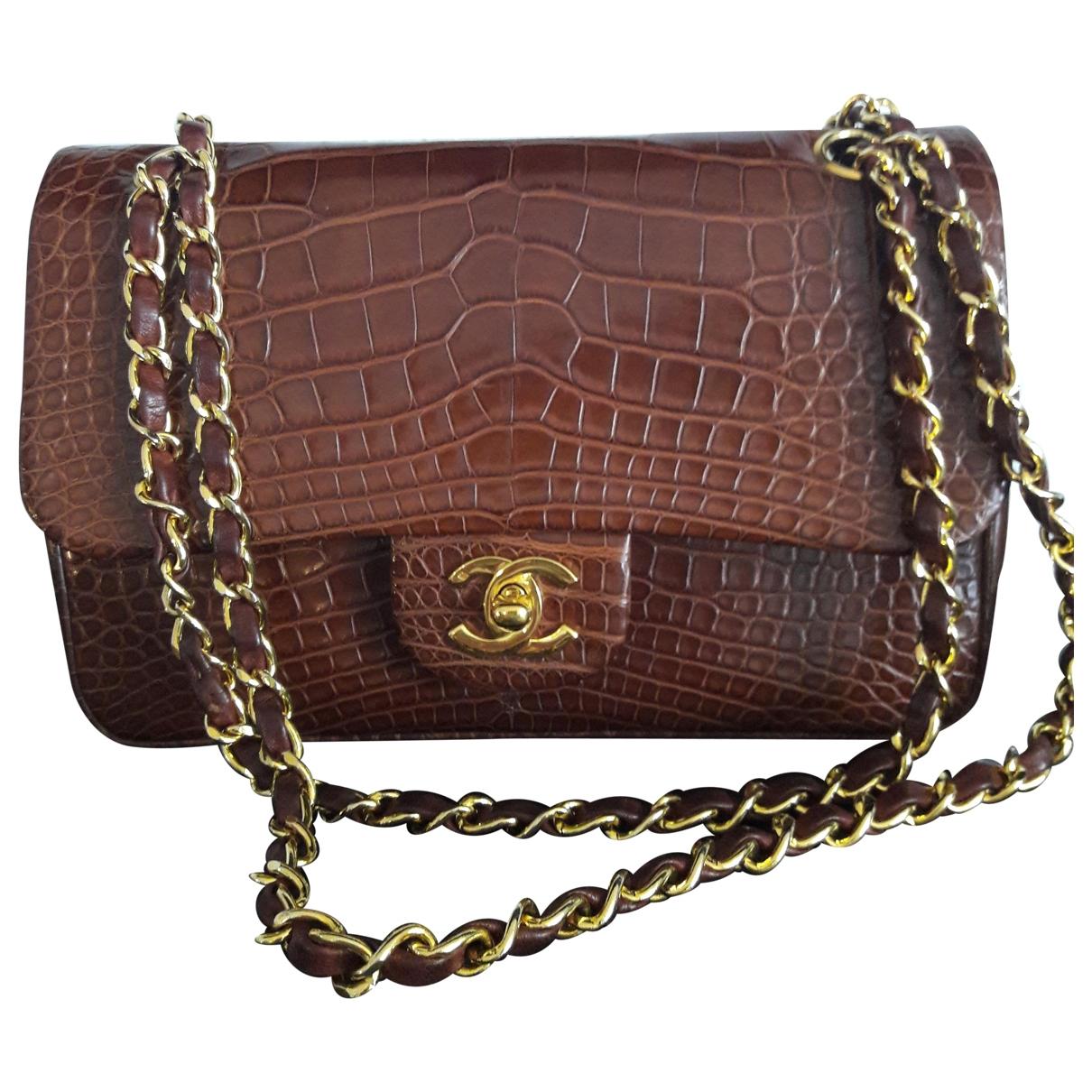 Chanel Timeless/Classique Handtasche in  Braun Exotenleder